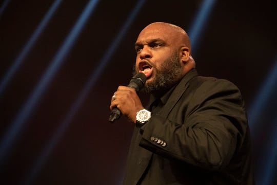 Pastor John Gray speaks during the Vision 2020 event at Relentless Church Sunday, Dec. 15, 2019.