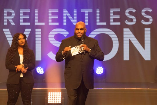 John and Aventer Gray speak during the Vision 2020 event at Relentless Church Sunday, Dec. 15, 2019.