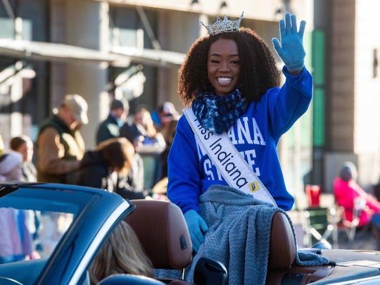 Miss Indiana Tiarra Taylor served as grand marshal for Indiana State University's homecoming parade.