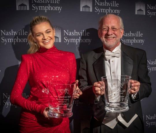 Kelsea Ballerini and Nashville Symphony President & CEO Alan D. Valentine at the 2019 Symphony Ball on December 14, 2019, at Schermerhorn Symphony Center.