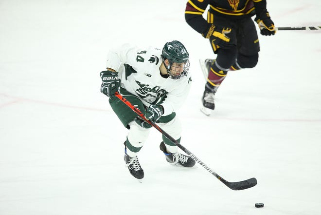 Michigan State defenseman Butrus Ghafari, shown here skating up the ice with the puck on Dec. 14 at Munn Ice Arena, scored the game-winning goal for the Spartans Saturday night at Minnesota.