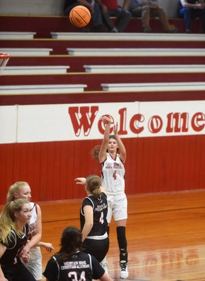 Flippin's Makenna Johnson puts up a 3-pointer during a game earlier this season.