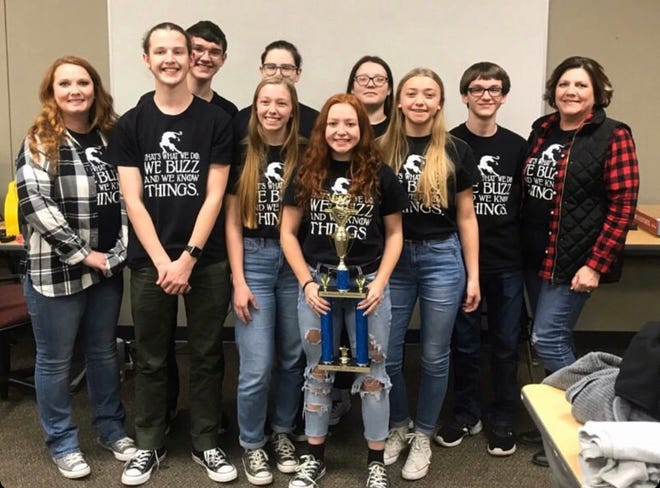 Norfork Senior High Quiz Bowl placed second at the Friends of Quiz Bowl Tournament on Dec. 7th in Russellville. The tournament hosted 90 teams from all over Arkansas. Shown in the above photo are (back row, left to right) Elliott Ruegsegger, Olivia Gonzalez, Emily Sechrest, Trakker Estes, Coach Pam Braun, (front row, left to right) Coach Stacy Havner, Andrew Ruegsegger, Jessie Weber, Madison Hall and Amber Weber.