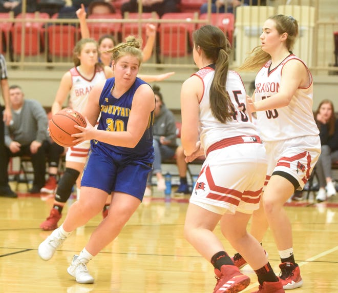 Mountain Home's Addison Yates drives the lane during a recent game at Branson, Mo.