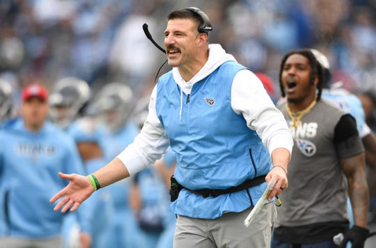 Tennessee Titans head coach Mike Vrabel questions a call during the first quarter at Nissan Stadium in Nashville, Tenn., Sunday, Dec. 15, 2019.