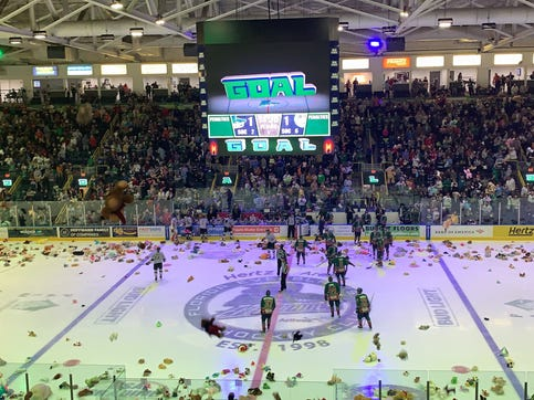 The Everblades scored at the 14:30 mark in the first period, and thousands of stuffed animals made their way onto the ice after.