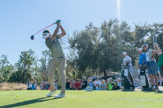 Bubba Watson tees off No. 1 during the final round of the QBE Shootout in Naples on Sunday, Dec. 15, 2019.