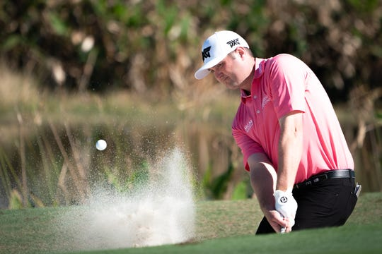 Jason Kokrak hits out of a bunker during the final round of the QBE Shootout on Sunday, Dec. 15, 2019 in Naples. Kokrak and teammate J.T. Poston finished second.