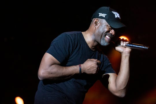 Darius Rucker performs at the live fest being held at QBE golf tournament on Saturday, December 14, 2019, at the Tibur—n Golf Club in Naples.