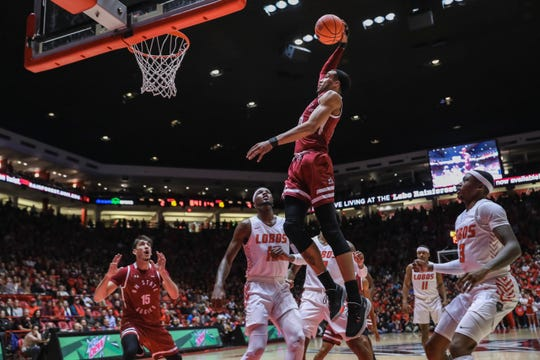 The NMSU Aggies faces off against UNM Lobos at University Arena in Albuquerque on Saturday, Dec. 14, 2019.