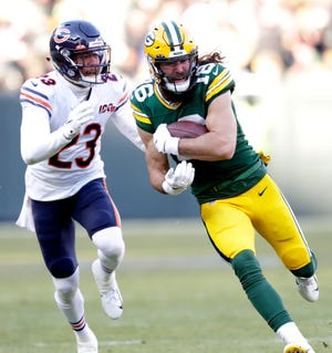 Green Bay Packers wide receiver Jake Kumerow (16) runs for a first down on a long reception against Chicago Bears cornerback Kyle Fuller (23) in the third quarter Sunday, December 15, 2019, at Lambeau Field in Green Bay, Wis.