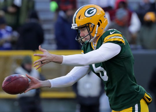 Green Bay Packers kicker JK Scott (6) warms up before the Packers host the Chicago Bears on Sunday, December 15, 2019, at Lambeau Field in Green Bay, Wis.