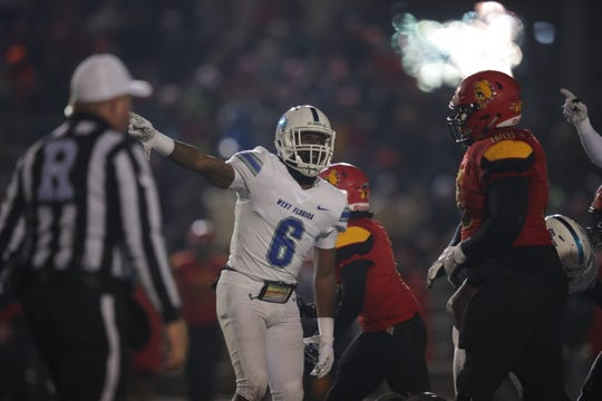 UWF's Kion Holder celebrates a turnover during the Argos' 28-14 win over Ferris State in the NCAA Division 2 Final Four on Dec. 14, 2019.
