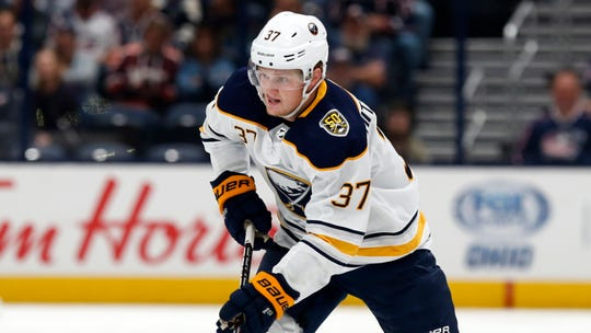 Buffalo Sabres forward Casey Mittelstadt is seen against the Columbus Blue Jackets during an NHL hockey game in Columbus, Ohio, Monday, Oct. 7, 2019. The 2017 first-round pick has been assigned to the Amerks.
