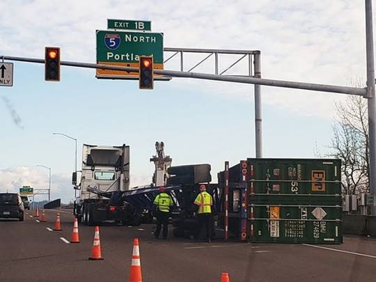 Two eastbound lanes are blocked following a crash involving a semi-truck on Highway 22 near Interstate 5.