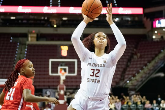FSU post player Valencia Myers drives to the hoop versus St. John's on Sunday, Dec. 15, 2019.