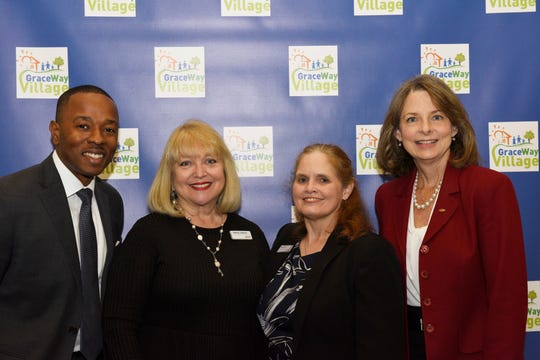 Monclaude Nestor, left, Sydney Liebman, Lucy Carr and Aileen Pruitt at the launch of GraceWay Village's capital campaign for the Treasure Coast Family Resource Initiative on Dec. 10, 2019.