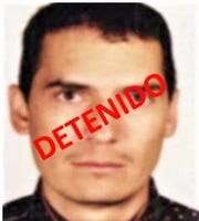 """Reputed Mexican drug trafficker Noel """"El Flaco"""" Salgueiro Nevarez is seen in an old wanted-poster photo. He was captured by Mexican army special forces in 2011 and extradited to El Paso, Texas, in 2019."""