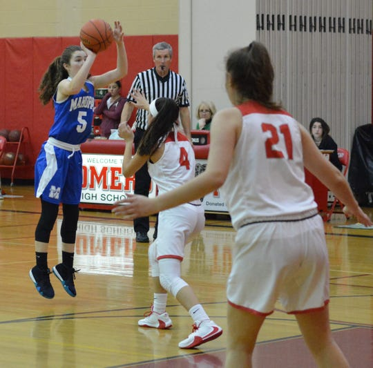 Mahopac guard Melanie DeMeo puts up a 3-pointer in the second half of a 51-46 win over Somers on Dec. 14, 2019.