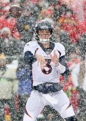 Broncos quarterback Drew Lock throws a pass against the Chiefs.