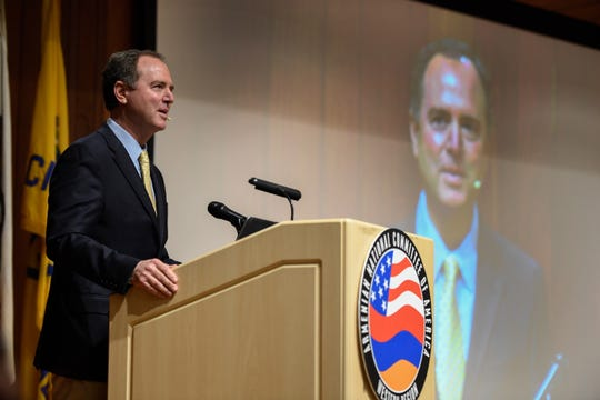 Congressman Adam Schiff speaks at a gathering of the Armenian National Committee of America  in Glendale, Calif before it was disrupted by pro-Trump supporters on Dec 14, 2019. Schiff, who spearheaded the move in Congress to recognize the Armenian Genocide, was in attendance to be honored by the group.