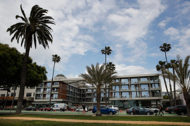 This May 6, 2019, file photo shows the Shore Hotel in Santa Monica, Calif. The beachfront hotel built without proper permits and fined nearly $15.6 million will be allowed to remain open.