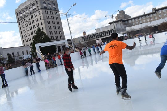 An outdoor ice skating rink downtown is one of the signature attractions in Winter Fete.