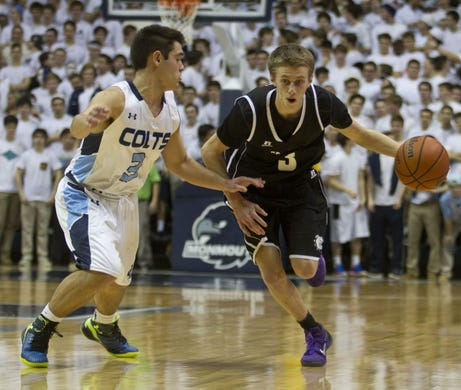 Rumson-Fair Haven's Brendan Barry drives against CBA during the 2015 Shore Conference Tournament championship game at OceanFirst Bank Center at Monmouth University in West Long Branch.
