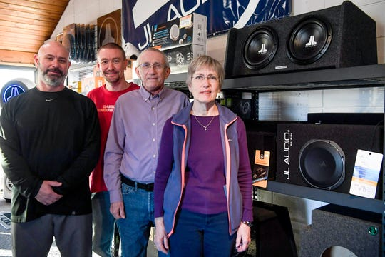 Modern cars have top-notch stereos and electronics, but the Garner family found a niche in the business for nearly a half century. From left, Chris, Lovell, Gary and Jan Garner at Garner's Stereo Center December 11, 2019.