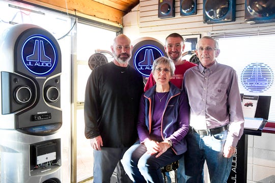 From left, Chris, Jan, Lovell and Gary Garner at Garner's Stereo Center December 11, 2019. Lovell Garner will remain as store manager when the business becomes Freeman's Car Stereo.