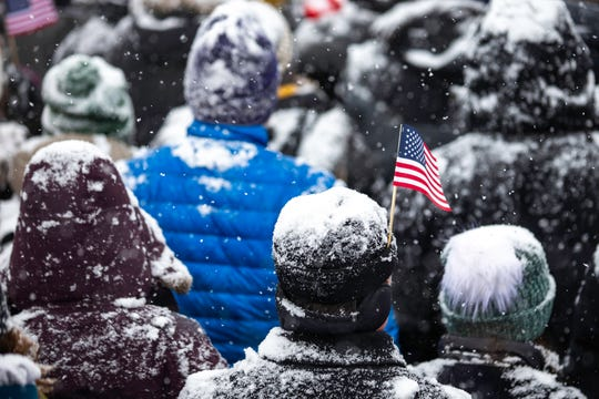 Supporters listen as US Senator Amy Klobuchar (D-MN) announces her candidacy for president during a heavy snowfall on February 10, 2019 in Minneapolis, Minnesota.