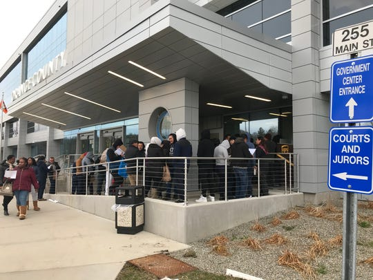 The Orange County DMV office earlier this year when lines formed after New York approved the Green Light Law, which allowed undocumented immigrants to get driver's licenses.