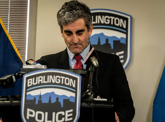 Burlington Mayor Miro Weinberger announces the resignation of police Chief Brandon del Pozo on Monday, Dec. 16, 2019, just two days after announcing his support for him after revelations surfaced that the chief created a fake Twitter account in July to harass a city resident critical of the department and then lied about it.