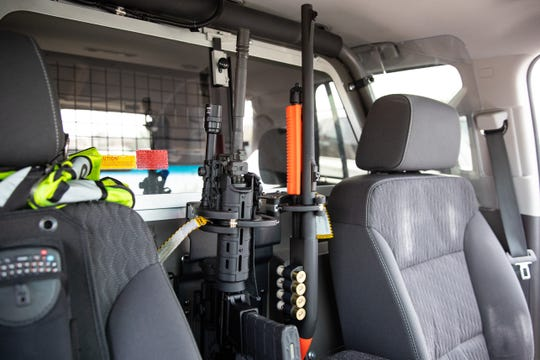 New less than lethal beanbag shotguns (right) were introduced to the Rockport Police Department on Thursday, Dec. 12, 2019.