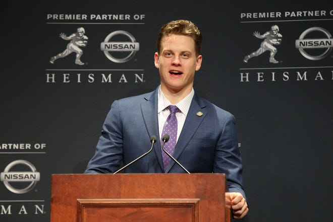 Dec. 14, 2019: LSU Tigers quarterback and Heisman Trophy winner Joe Burrow speaks to the media during a post-ceremony press conference at the New York Marriott Marquis.