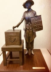 A small-scale replica of the sculpture by Roy Butler, using authentic artifacts from the Customs House Museum and nicknamed Tennessee Triumph. It depicts all Clarksville women who worked for suffrage and voted in their first presidential election in 1920.