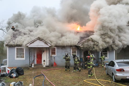 Clarksville Fire Rescue responds to a house fire on Allison Drive.