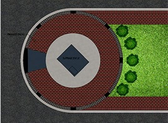 An overhead view of the proposed site for the Tennessee Triumph statue on Public Square.