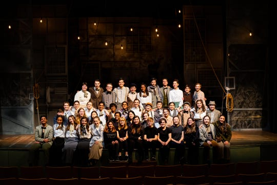 The Pingry School fall play cast and crew: (Fourth row): Cal Mahoney of Basking Ridge, Josh Thau of Bound Brook, Corbey Ellison of Westfield, Stuart Clark 'of Short Hills, Alex Kaplan of Westfield, Nina Srikanth of Bridgewater, Ryan Arrazcaeta of Basking Ridge, Jonathan Marsico of Lake Hopatcong, Sonia Talarek of Far Hills, Ronan McGurn of  Westfield, and Helen Baeck-Hubloux of Morris Township. (Third row): Cordelia Ludden of Summit, Sophia Lewis of Morristown, Charlotte Schneider of Morristown, Anika Govil of Chatham, Jordan Miller of South Orange, Mirika Jambudi of Edison, Grace Stowe of Flemington, Eloise Williamson of Mendham, Milenka Men of Colonia, Kirsten Kamerkar of Warren, Thomas Weldon of Summit, Anna Stowe 'of Flemington, and Ainsley Ellison of Westfield. (Second row): Lleyton Lance of Summit, AFS student Meina Franzius of Basking Ridge, Mia Shum of Morristown, Josie Alston of Bridgewater, Helen Ma of Stirling, Luca Pizzale of Bernardsville, and Adelaide Lance of Summit. (Front row): Ram Doraswamy of Short Hills, Sydney Stovall of West Orange, Sarah Gagliardi of Warren, Alivia Clark of Springfield, Grace Barral of Bernardsville, Ainsli Shah of Short Hills, Ashleigh Provoost of Bernardsville, Lindsay Cheng of Warren, Evan Berger of Hillsborough, Francesca Rainuzzo of Livingston, Kimberly Wang of Belle Mead, Chelsea Urgilez of Newark, Lily Arrom of Warren, and Natalie DeVito of South Plainfield.
