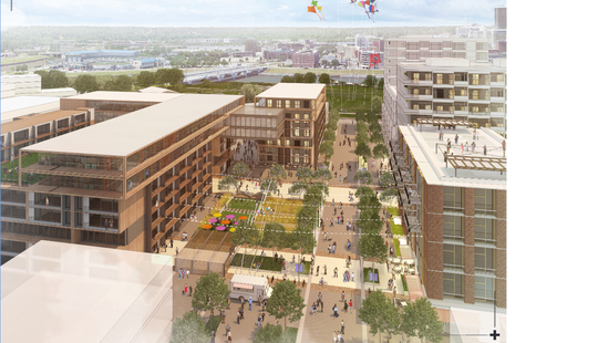 A redevelopment vision for the Market District, which would include apartments, condos, shops, restaurants and offices.
