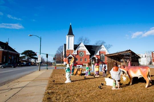This Dec. 10, 2019, photo shows a relocated nativity scene in Centerville, Iowa.