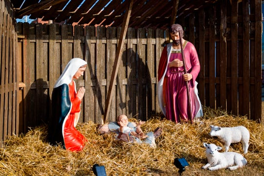 This Dec. 10, 2019, photo shows a relocated nativity scene in Centerville, Iowa. Many residents of the small southern Iowa city have been angered by a decision to move a nativity scene from the courthouse lawn to outside a nearby church. They are demanding officials return the display to the lawn, but a national atheist group says if the nativity is moved back they will demand equal access for atheists, Satanists, wiccans and other faiths.