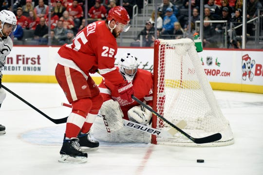 Detroit Red Wings defenseman Mike Green skates with the puck against the Los Angeles Kings in the second period Sunday, Dec. 15, 2019, in Detroit.