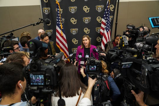 U.S. Rep. Elissa Slotkin talks with press after holding a constituent community conversation on Monday, Dec. 16, 2019 at the Oakland Center at Oakland University in Rochester.