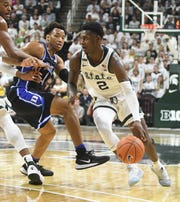 Michigan State guard Rocket Watts has missed the last two games because of a stress reaction in his lower left leg after starting the first eight games of the season.