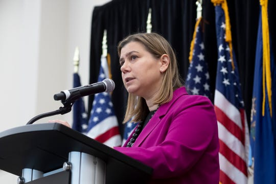 U.S. Rep. Elissa Slotkin speaks during a constituent community conversation at the Oakland Center, at Oakland University.