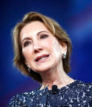 "In this Feb. 24, 2017 file photo, former 2016 GOP presidential candidate Carly Fiorina speaks in Oxon Hill, Md.  Fiorina says ""it is vital"" that President Donald Trump is impeached, but she didn't go so far as to say he should be removed from office."
