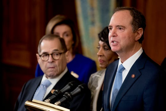 Rep. Adam Schiff, D-Calif., Chairman of the House Intelligence Committee, right, speaks with from left Chairman of the House Judiciary Committee Jerrold Nadler, D-N.Y.