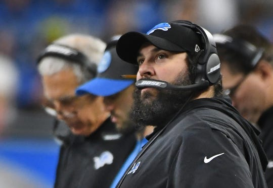 Lions head coach Matt Patricia looks up towards the video board in the first quarter Sunday.