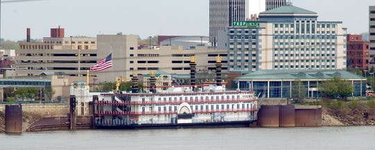 The Tropicana Riverboat is seen at dock on the Ohio River on Thursday, April 24, 2014.